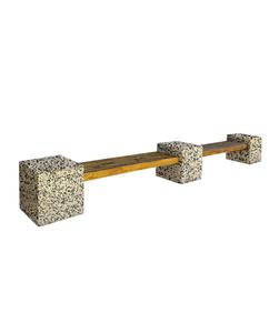 """СКАМЬЯ СК-1 деревянная с бетонными опорами (Коллекция """"Мытый бетон"""") L=5600, тумба 600x600x600 ''ВЫБОР''"""