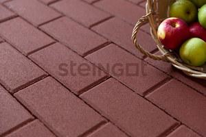 Тротуарная плитка Брусчатка 200*100*60 Темно-красная (верхний прокрас)  Брусчатка ''Steingot''
