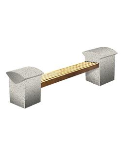 """СКАМЬЯ СК-8 деревянная с бетонными опорами (Коллекция """"Гранит"""") L=2300, тумба 550x180x600 ''ВЫБОР''"""