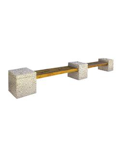 """СКАМЬЯ СК-1 деревянная с бетонными опорами (Коллекция """"Гранит"""") L=5600, тумба 600x600x600 ''ВЫБОР''"""