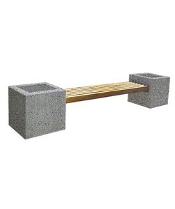 """СКАМЬЯ СК-5 деревянная с бетонными опорами (Коллекция """"Мозаичный бетон"""") L=3100, тумба-цветочница 600x600x600 ''ВЫБОР''"""