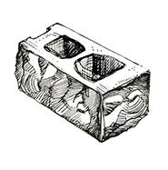 """Угловой колотый пустотелый блок 390x190x190 мм Profi ''Фабрика """"Готика""""''"""