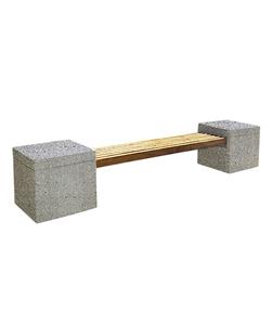 """СКАМЬЯ СК-2 деревянная с бетонными опорами (Коллекция """"Мозаичный бетон"""") L=3100, тумба 600x600x600 ''ВЫБОР''"""