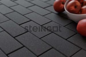 Тротуарная плитка Брусчатка 200*100*60 Чёрная (верхний прокрас, минифаска)  Брусчатка ''Steingot''