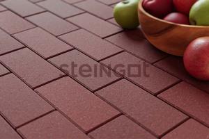 Тротуарная плитка Брусчатка 200*100*60 Темно-красная (верхний прокрас, минифаска)  Брусчатка ''Steingot''